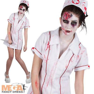 Killer Zombie Nurse Ladies Halloween Fancy Dress Horror Costume Outfit UK 6-24 - Lady Killer Halloween Costume
