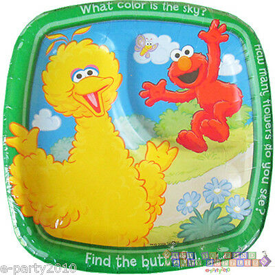 Sesame Street Party Plates (SESAME STREET Sunny Days SMALL POCKET PLATES (8) ~ 1st Birthday Party)