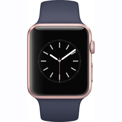 New Apple Watch 2 Series 1 42Mm Rose Gold Aluminum Case Midnight Blue Sport Band