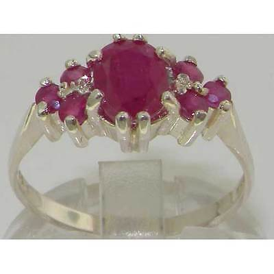 Contemporary White Gold Rings - Ladies Contemporary Solid 14K White Gold Natural 1.5ct Ruby Ring