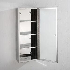 80cm x 25cm single door mirror glass bathroom metal for Mirror 60cm x 80cm