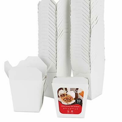 Takeout Food Containers 8oz White Mini Chinese Take Out Box 50 Pack