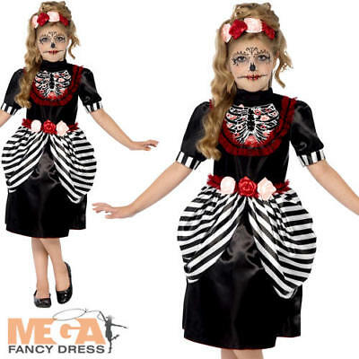 lloween Fancy Dress Day of the Dead Skeleton Kids Costume (Sugar Skull Girl Halloween)