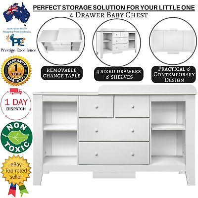 Baby Change Table Drawers Chest Dresser Cabinet Changer Nursery Furniture White