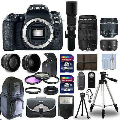 Canon EOS 77D Camera + 6 Lens 18-55mm STM, 75-300mm, 50mm, 500mm + 24GB PRO KIT! for sale  Shipping to India