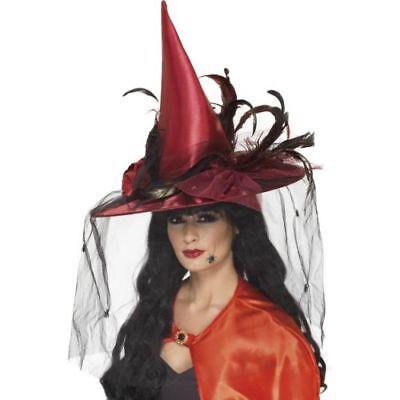 Smi - Hexenhut mit Federn und Netz in - Feder Hexe Kostüme