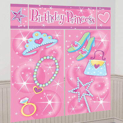 PRINCESS PARTY WALL POSTER DECORATING KIT (5pc) ~ Birthday Supplies Scene Setter