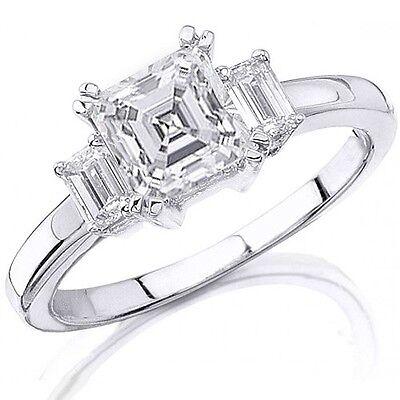 2.36 GIA 3 Stone Asscher Cut Diamond Ring 14KW Asscher & Emerald Engagement Ring
