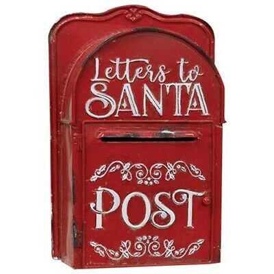 LETTERS TO  SANTA POST BOX RED WHITE Vintage Style Mailbox Christmas Rustic Aged