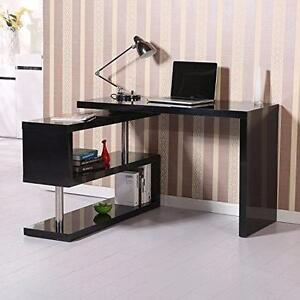 Rotating Office Desk and Shelf Combo / Computer desk Modern pivot Desk / Laptop Desk