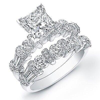 3.70 Ct. Princess Cut Diamond Engagement Bridal Set GIA