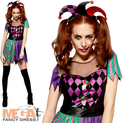 Harley Jester Ladies Halloween Fancy Dress Creepy Circus Womens Adults Costume - Creepy Carnival Costumes