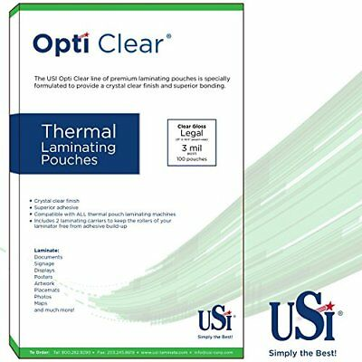Opti Clear Thermal Hot Laminating Pouches Legal Size 3 Mil 9x14.5 100 Pouches