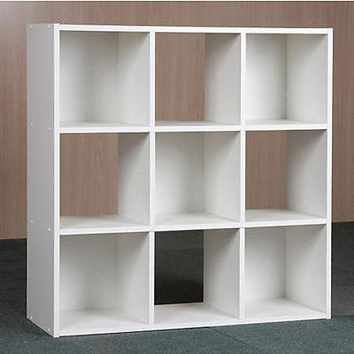 9 Cube Organizer Bookcase Storage Campanile Shelves White Kids or Living Room