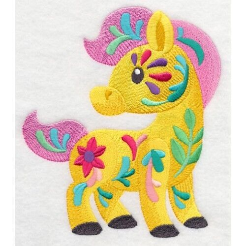 Embroidered Ladies Fleece Jacket - Flower Power Baby Horse M7039