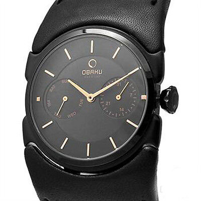 OBAKU HARMONY LADIES QUARTZ WATCH NEW BLACK DIAL LEATHER V109LBBRB for sale  Shipping to Canada