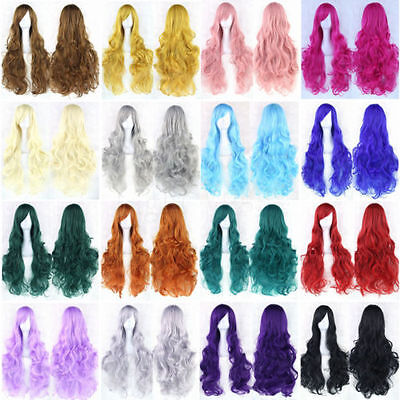 Hot Cosplay Women (HOT Women Fashion Lady Anime Long Curly Wavy Hair Party Cosplay Full)
