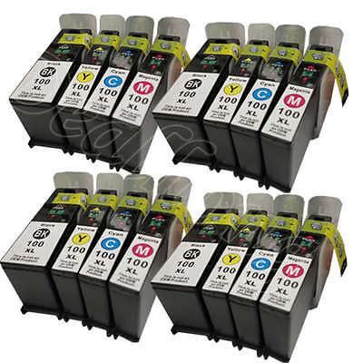 16 Pk For Lexmark 100 Xl Non-oem Ink Cartridge4 Set Pro90...