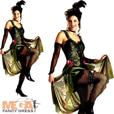 Saloon Outfit (Deluxe Saloon Girl Ladies Fancy Dress Western Can Can Costume Outfit UK)