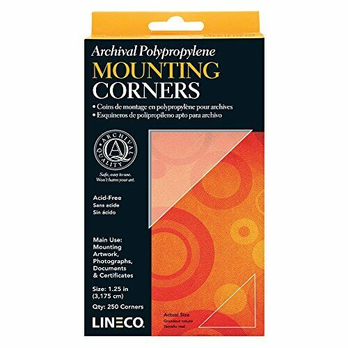 Lineco Archival Polypropylene Mounting Corners, Standard View, 1.25 in, 256 Pack