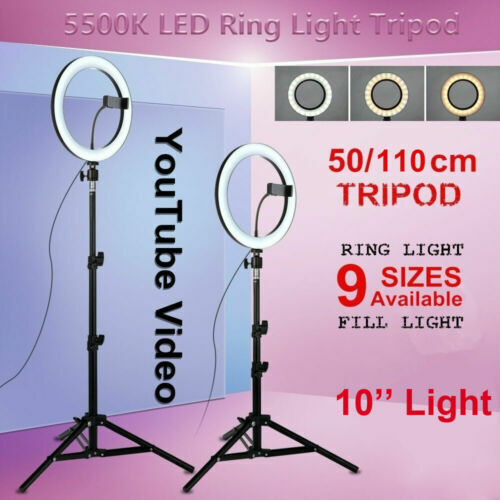 Dimmable LED Ring Light Studio Photo Video Lamp Tripod Selfie Camera Phone Stand