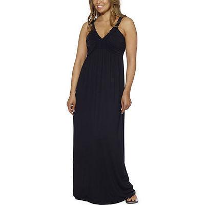 Design History Black Stretch Jersey - Design History Ladies Maxi Long Dress Braided Bodice Jersey Knit  Black  Sz S