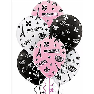 BRIDAL SHOWER Day in Paris LATEX BALLOONS (6) ~ Wedding Party Supplies Helium