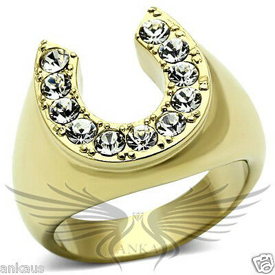 Men's Horseshoe Gold Plated Top Graded Crystal Lucky Ring 8 9 10 11 12 13 TK717 - Gold Mens Horseshoe