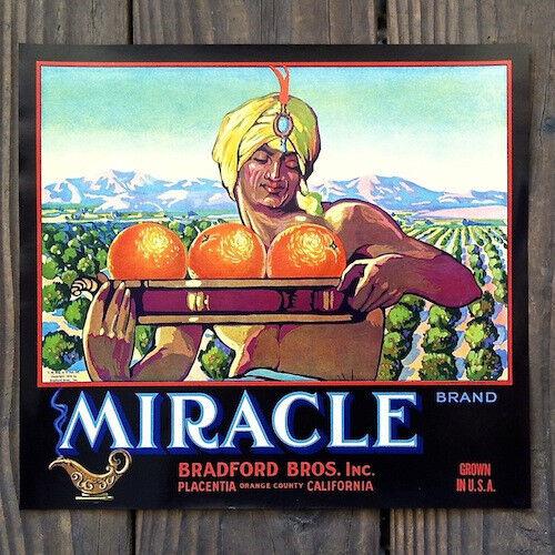 Vintage Original MIRACLE ORANGE CITRUS CRATE Box Label Gypsy Genie Unsued NOS