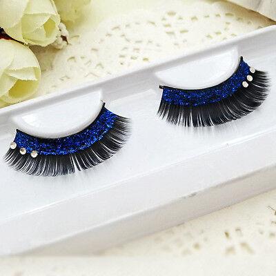 Black Blue Tip Long False Eyelashes Eye Lashes Dance Halloween Costume - Black Eye Halloween Makeup Tips