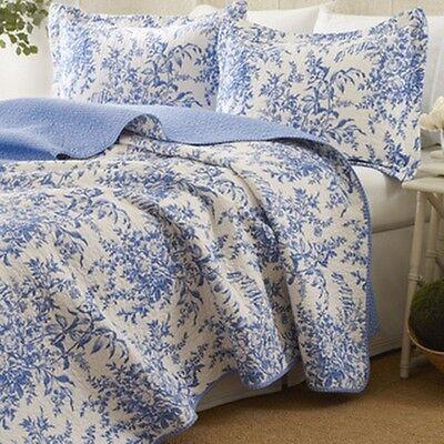 Laura Ashley 3 Piece Bedford Blue Reversible Quilt Set Ebay
