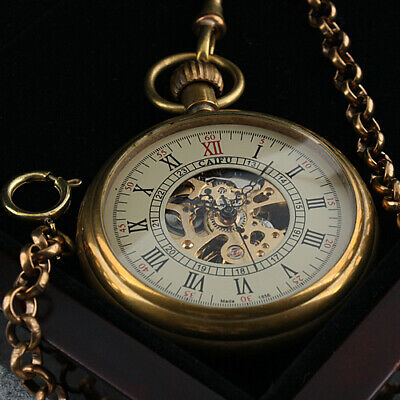 Mens Pocket Watch Mechanical White Face Brass Gold Vintage Chain Hand-winding