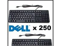 ** BRAGAIN ** 250 x Joblot Genuine Dell USB Wired Slim Black Keyboards Dutch Language KB212-B