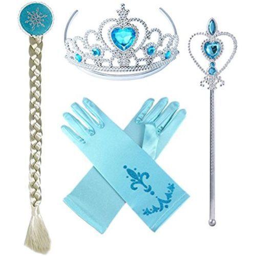 Eiskönigin Mädchen Krone Zauberstab Zopf Handschuh Kostüm Elsa Anna Frozen Set