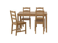 Dining table & 4 chairs, natural wood, excellent condition £75 o.n.o. look we've dropped the price!