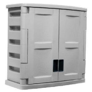 suncast utility 2 door wall cabinet outdoor porch patio. Black Bedroom Furniture Sets. Home Design Ideas