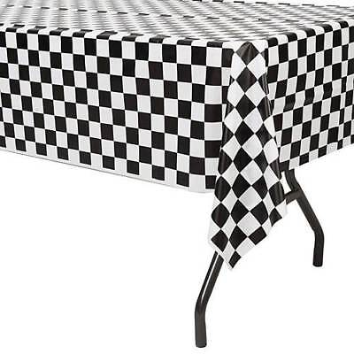 Plastic Disposable Tablecloth Black Checker Table Cover Wedding Party Decor