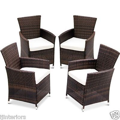 Garden Furniture - 4 X RATTAN GARDEN FURNITURE DINING CHAIRS SET OUTDOOR PATIO CONSERVATORY WICKER
