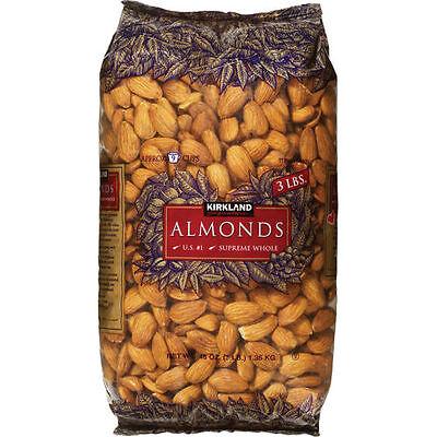- Kirkland Signature Almonds Supreme Whole 3 lb Large Bag (48 oz)