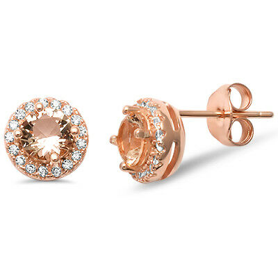 Rose Gold Plated Round Halo Morganite Studs .925 Sterling Silver Earrings