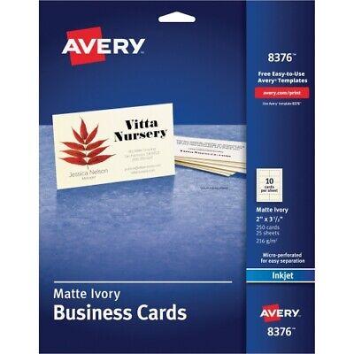 Avery Inkjet Matte Business Cards 2 X 3 12 Ivory 10sheet 250pack Pk - A
