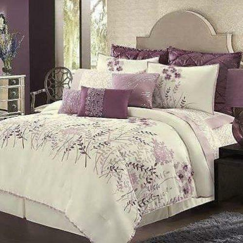 Purple White And Coral Bedding