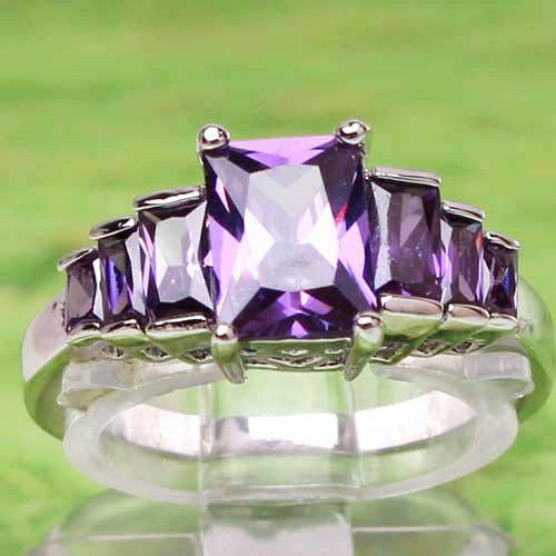 Hot-Emerald-Cut-Amethyst-Gemstones-Silver-Ring-Gift-Size-6-7-9-Free-Shipping