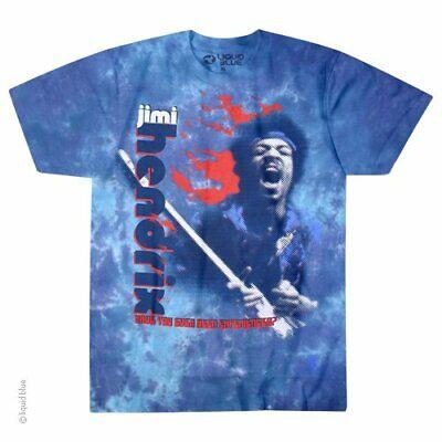 Jimi Hendrix Fire M, L, XL, 2XL Tie Dye T-Shirt