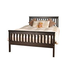 4FT 6 CHOCOLATE BROWN WOODEN BED FRAME - NEVER ASSEMBLED