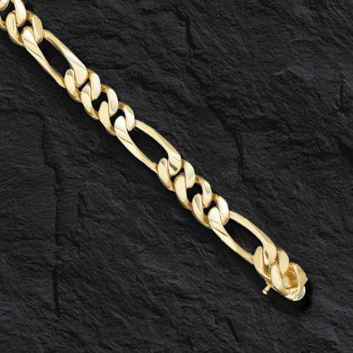 14k Solid Gold Handmade Figaro Curb Link Men