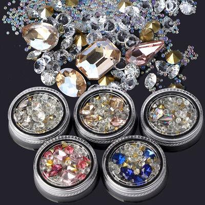 Mode Nail Art Strass Glitter Diamantspitzen 3D Tipps DIY Dekoration Box Kit Neu - Glitter Spitzen