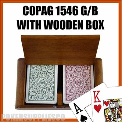 (Copag Plastic Playing Cards in Wood Box, Green/Burgundy Bridge Size, Regular)