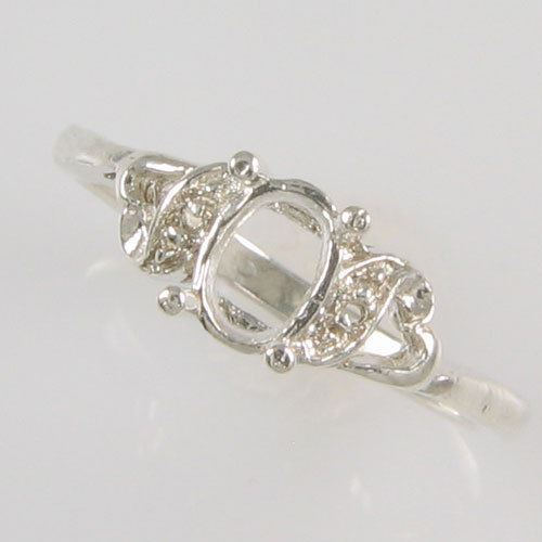 PRE-NOTCHED DESIGNER 6X4 OVAL SOLITAIRE RING .925 STERLING SILVER CR5180SS