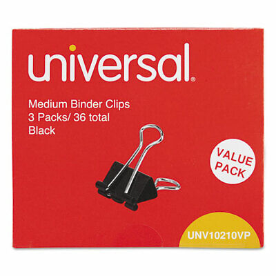 Medium Binder Clips Steel Wire 58 Cap. 1-14 Wide Blacksilver 36pack